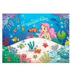 10 tarjetas de cumpleaños Invitaciones en español Sirenas para el cumpleaños de niña