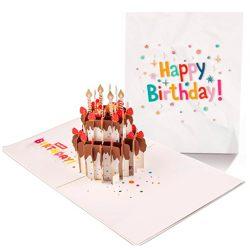3D Tarjeta de cumpleaños y felicitación diseño creativo de pastel de chocolate con sobre