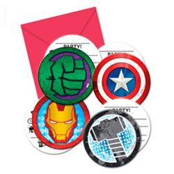 6 piezas, multicolor, talla unica tarjetas de invitacion de cumpleañso poderosos Vengadores