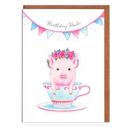 Cerdito tarjeta de cumpleaños felicitación de cumpleaños, tarjeta de cumpleaños para mujer