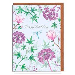 Flores tarjeta de cumpleaños felicitación de cumpleaños, tarjeta de cumpleaños para mujer