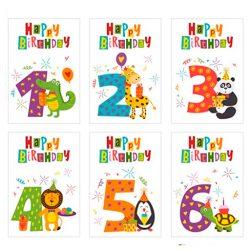 Juego de 6 bonitas tarjetas de cumpleaños para niños con sobre. 1, 2, 3, 4, 5, 6 años.