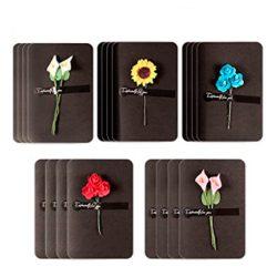 Kitchen-dream 20pcs Tarjeta de felicitación papel de flores secas tarjeta hecha a mano en blanco