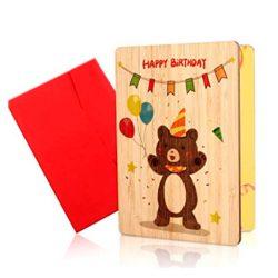 Tarjeta de Felicitación para hijo de Madera tarjetas Hechas a Mano con Bambú Real Con Sobres