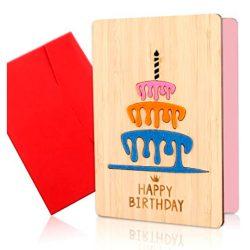 Tarjeta de Felicitación y cumpleaños para tia, mama, sobrina, amiga, hecha de madera bambu a mano