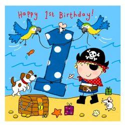 Tarjeta de cumpleaños 1er cumpleaños para niño con pirata, perro y loros un año de edad 1