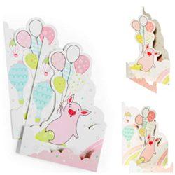 Tarjeta de cumpleaños (2 unidades) para niños y recién nacidos con cerdo y globos