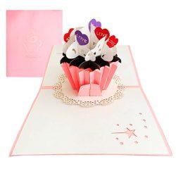 Tarjeta de cumpleaños 3D emergente de plegable diseño de cupcake 15 * 15 cm