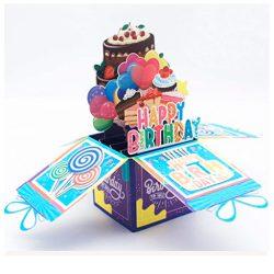 Tarjeta de cumpleaños 3d de felicitación desplegable diseño pastel con mensaje en 3D