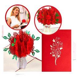Tarjeta de cumpleaños Pop Up 3D forma de ramo de rosas para mujeres y hombres