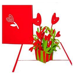 Tarjeta de cumpleaños amor Pop Up #D de flores y corazones para amor ideal