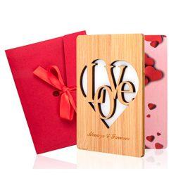 Tarjeta de cumpleaños de amor y felicitación de madera bambú real con sobre incluido