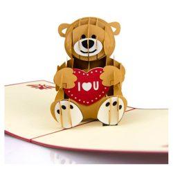 Tarjeta de cumpleaños de mucho amor desplegable de oso 3D para del enamorado pareja matrimonio