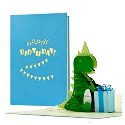 Tarjeta de cumpleaños de niños con dinosaurios de elicitación infantiles Pop Up 3D