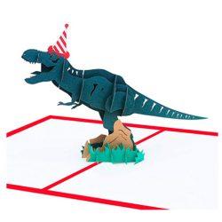 Tarjeta de cumpleaños en 3D diseño dinosaurio para felicitación Pop up MUROAD