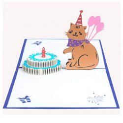 Tarjeta de cumpleaños en 3D diseño gatito y pastel de cumpleaños tridimensional EUFANCE