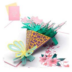 Tarjeta de cumpleaños especial 3D Feliz cumpleaños acción de gracias familiar jefa de flores
