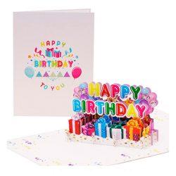 Tarjeta de cumpleaños especial alegre Happy Birthday multicolor Pop Up con globos en 3D