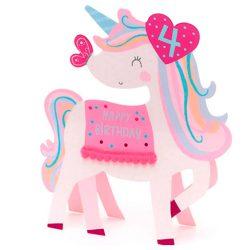 Tarjeta de cumpleaños felicitación unicornio de 4º años para niña