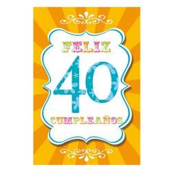 Tarjeta de cumpleaños hombre y mujer felicitación diseño Feliz Cumple 40 familiar