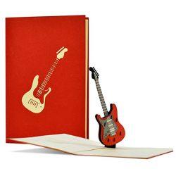 Tarjeta de cumpleaños hombres rockeros con diseño de guitarra 3D pop-up para músicos