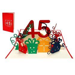 Tarjeta de cumpleaños hombres y mujeres pop-up en 3D, tarjeta de felicidades 45 años familiar