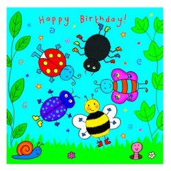 Tarjeta de cumpleaños infantiles para niños y niñas con insectos giratorios excelente sorpresa