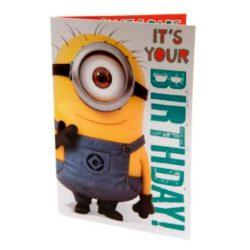 Tarjeta de cumpleaños musical con sonido de feliz cumpleaños diseño Minions