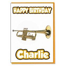 Tarjeta de cumpleaños musical personalizada de trompeta – cualquier nombre o edad familiar
