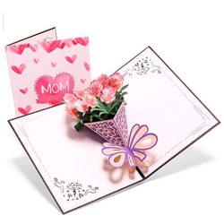 Tarjeta de cumpleaños para la madre efecto Emergente 3D de ramo de claveles
