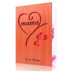 Tarjeta de cumpleaños para mama de madera con espacio en parte posterior para mensaje