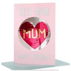 Tarjeta de cumpleaños para mamá reversible con lentejuelas tamaño mediano, con amor