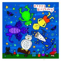 Tarjeta de cumpleaños para niños con mago mágico y mounstruos de aventura