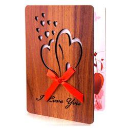 Tarjeta de cumpleaños y felicitación tia, mama, prima de madera de imitación hecha a mano