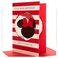 Tarjeta de cumpleaños reversible con lentejuelas Mickey & Minnie tamaño mediano 23 x 16 cm