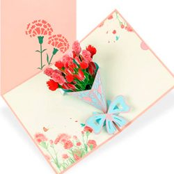 Tarjeta de cumpleaños tia, mama, amiga en 3d para felicitación 3D flor de Clavel