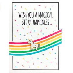 Tarjeta de cumpleaños unicornio + Pin de unicornio pequeño regalo con tarjeta