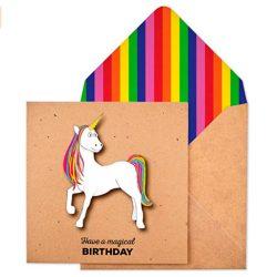 Tarjeta de cumpleaños unicornio mágico premium hecha a mano efecto 3D