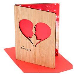 Tarjeta de cumpleaños y amor de bambú con sobre hecha a mano marido, esposa, novia, novio