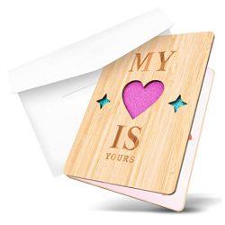 Tarjeta de cumpleaños y de amor felicitacion hecha de Bambú lugar para escribir mensaje