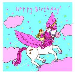 Tarjeta de cumpleaños y felicitación para niña unicornio volador, nubes y cristal Swarovski