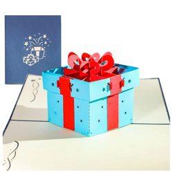 Tarjeta de cumpleaños y felicitación regalo emergente y tarjeta plegable en 3D