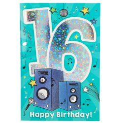 Tarjeta de felicitación con música, 16º cumpleaños, multicolor , color/modelo surtido