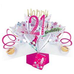 Tarjeta de felicitación de 21º cumpleaños Pop up 3D 12x17cm mujeres primas novias amigas