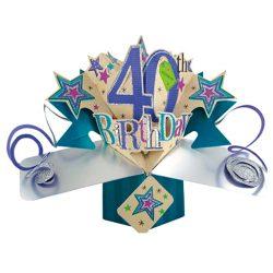 Tarjeta de felicitación de 40º cumpleaños Pop up 3D 12x17cm mujeres primas novias amigas