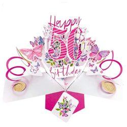 Tarjeta de felicitación de 50º cumpleaños Pop up 3D 12x17cm mujeres primas novias amigas