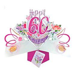 Tarjeta de felicitación de 60º cumpleaños Pop up 3D 12x17cm mujeres primas novias amigas