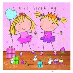 Tarjeta de felicitación de cumpleaños para niña, fiesta de gemelos, regalos, acabado de cristal Swarovski