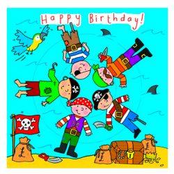 Tarjeta de felicitación de cumpleaños para niño con piratas felices 16x16 cm