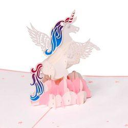 Tarjeta de felicitación, diseño de unicornio 3D, ideal para cumpleaños